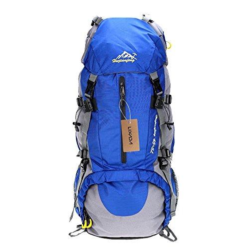 Lixada Mochila de Senderismo 50L con Cubierta Impermeable Mochila de Marcha Trekking Camping Deporte al Aire Libre (Azul Ligero)