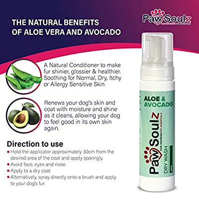 Paw Soulz Aloe - Avocado - Provitamin B5 - Advanced Natural & Cruelty Free Dry Wash - Foam Shampoo for Dogs - Reduce Itching & Irritation - Cleans, Grooms & Conditions by Paw Soulz