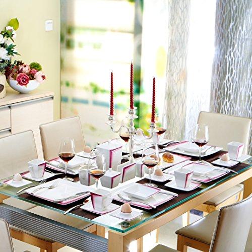 Malacasa, Serie Rebeca 40P, Set 40 tlg. Porzellan Kaffeeservice Frühstück Geschirrset Eckig Teeset für 6 Personen, OHNE KUCHENTELLER ODER SUPPENTELLER - 2