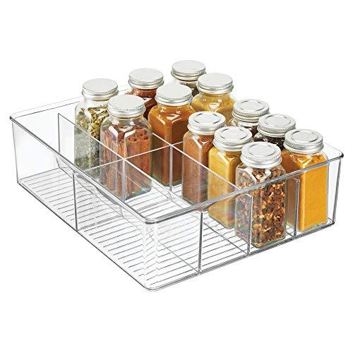 mDesign Aufbewahrungsbox – Kasten mit acht Fächern zur Lebensmittelaufbewahrung – moderner Küchen Organizer für Tütensuppen, Gewürze etc. – durchsichtig