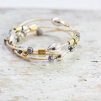 Geflochtener Gold-Ring mit Silber und Hämatit X in allen Größen X Original-Design und Handarbeit von Silber&Stein