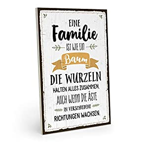 ARTFAVES Holzschild mit Spruch - EINE Familie IST WIE EIN Baum - Vintage Shabby Deko-Wandbild/Türschild