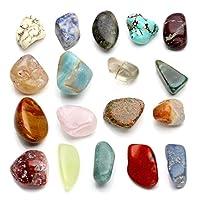 Jovivi, set di pietre naturali dei chakra, set di 18 diverse gemme, pietre tamburate. Set di pietre amorfe, gemme naturali tamburate. Pietre chakra con 7 pietre sfaccettate. Ametista (Chakra della corona), cristallo bianco (Chakra del terzo o...