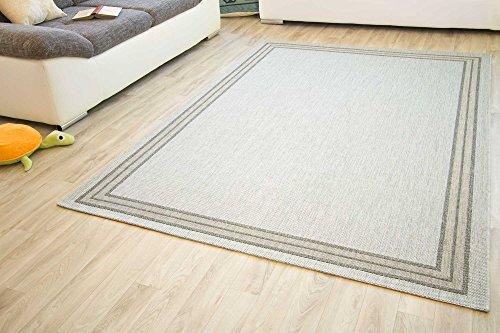 In- und Outdoor Teppich Gotland Design Bordüre Linien Webteppich Gut Siegel, Größe: 140x200 cm