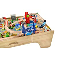 Squirrel Play 100 Piece Wooden Train Set & Table
