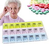 WESEEDOO 21 Fächer Reisen Pill Box Organizer Tablet Medizin Lagerung Dispenser Halter Tablet Box Pille Veranstalter Pill Box 7 Tag Morgen/Mittag / Abend