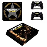Hytech Plus Call of Duty WWII Special Edition Theme Sticker for PS4 Slim Console and 2 Controllers