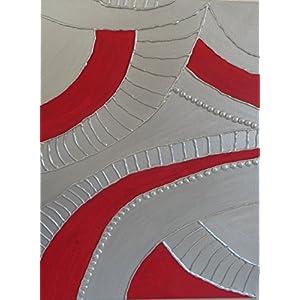 Abstraktes Wandbild in Rot und Silber
