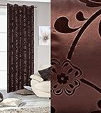 Ösenvorhang 140x250 cm Amber braun Wohnzimmer Blickdicht Satinvorhang Blumen Pflanzen