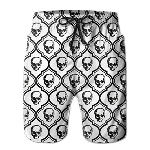 goodsale2019 French Skulls Bone Hipster Halloween Herren Badehose Beach Shorts mit Netzfutter Boardshort