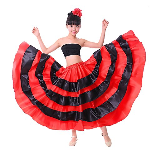 Neueste Mädchen Gypsy/Flamenco/Bauchtanz/Spanisch Bull Performance abgestuftes Rock,Kleine ~ geeignete Mädchen Höhe 100-110 cm
