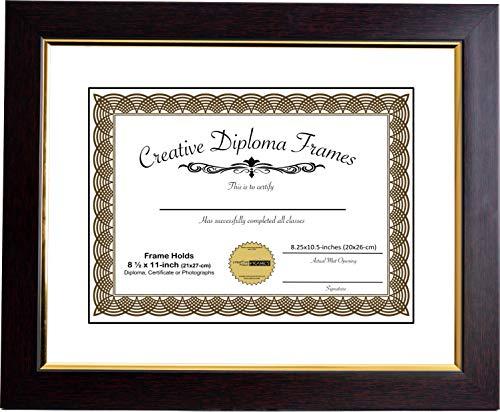 Klassische Mahagoni-finish (Creativeed mhg024 Bilderrahmen aus der Goldrand-Kollektion, 28 x 35 cm, mit weißer Passepartout, für 21,6 x 27,9 cm, Holz-Finish, mit weißen und schwarzen Rahmen Holds 8.5x11 Each)