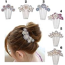 Frcolor Flor cristal Rhinestone perlas cabello peine Clip boda Bridal(White)