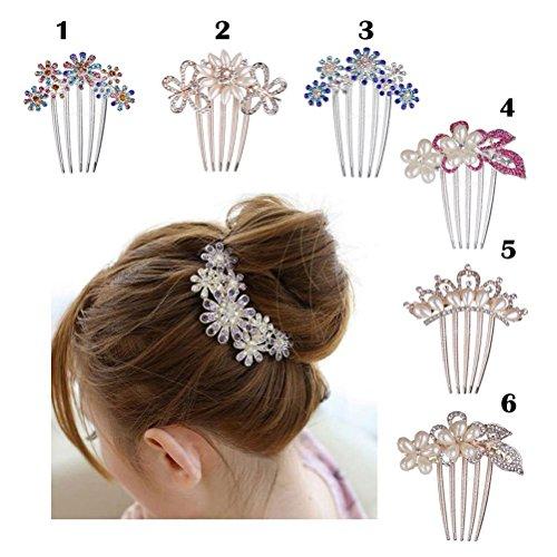 Frcolor Flor cristal Rhinestone perlas cabello peine Clip boda Bridal(