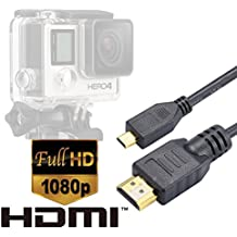 Cable HDMI Luxebell 1.5m/5feet Cable Micro HD Video para Cámara Gopro Hero3,Hero3+,Hero4 Black Edition y Silver Edition - Versión 1.4 (Negro)