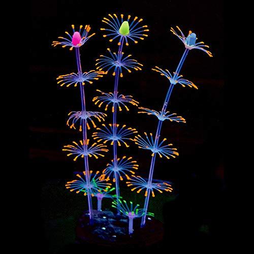 SENZEAL Künstlich Streifenkoralle Leuchteffekt Aquarium Pflanzen Streifen Coral Plant Glowing Effect Deko Ornament aus Silikon und Kunststoff für die Dekoration von Aquarien Fisch Tank Orange