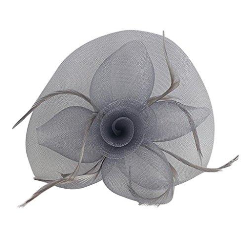 Feder Fascinator Hut Haarspange Haarschmuck Kommunion Kopfschmuck Schleier - Grau, 6FT (Schleier Haarspange Kommunion)