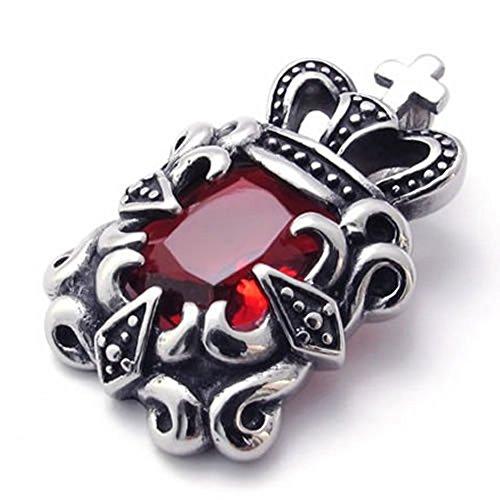 Dell'acciaio inossidabile dell'annata Corona con pietra preziosa rossa Collana pendente per gli uomini e le donne