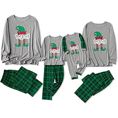 Kolila Familien Schlafoveralls, Weihnachts Brief PJ's Plaid gedrucktes Top + Hosen-Weihnachts Familien Kleidungs Pyjama Loungewear-Schlafanzug