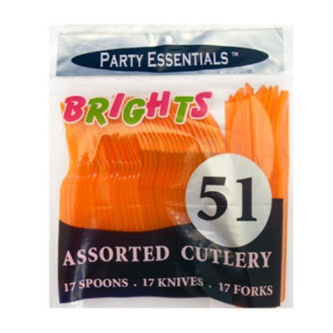 Orange Neon Brights Kunststoff Besteck Pack sortiert