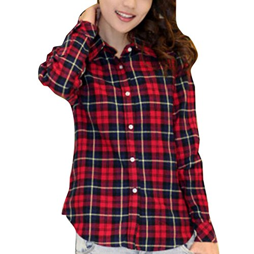 Damen Karierte Bluse Langarm - Ladies Hemd Klassischer Plaid Button Beiläufige Top Bluse