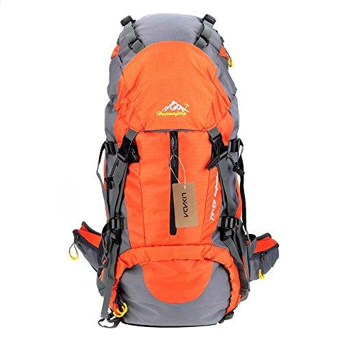 Lixada Zaino da Trekking Zaini da Escursionismo 50L Impermeabile Sport Trekking Escursioni Campeggio Viaggio Arrampicata Zaino con Copertura della Pioggia (blu) (arancia)