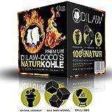 DILAW® Shisha Kohle   1KG 64 Würfel   Größe 26er Cubes   Premium Kokosnuss Naturkohle bis zu 120 Minuten Brenndauer