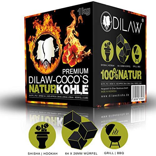 DILAW® Shisha Kohle | 1KG 64 Würfel | Größe 26er Cubes | Premium Kokosnuss Naturkohle bis zu 120 Minuten Brenndauer -