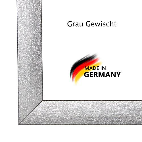 Bilderrahmen PN35 48x64 oder 64x48 cm in GRAU GEWISCHT normal Kunstglas und Rückwand, 35 mm breite MDF-Leiste mit Dekor Folienummantelung (18-poster Apollo)