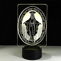 Idea Regalo - Luce notturna 3D LED luci notturne luci colorati cambia lampada da tavolo giocattolo lampada regalo(Vergine Maria)