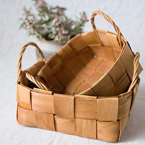 Fuitna Chinesische Tanne Runde Woven Holz Korb mit Hander Handgemachten Ablagekorb Kleinigkeiten Lagerung Speisekorb Obst Picknick Korb Fotografie Requisiten (Aus Obst Holz Korb)