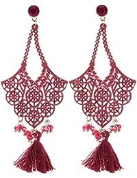 Schmuckanthony Boho Hippie Ethno Chic Lange Ohrringe Wildleder Perlen Kristalle Quasten Rot Bordeaux