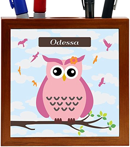Name - Cute Pink Owl on Branch with Personalized Name Design 5-Inch Tile Wooden Tile Pen Holder (RK-PH30302) ()