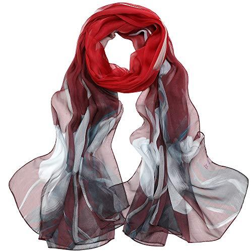 Seidenschal Damen Stola Schal 100 Seiden Tuch Groß Seidentuch Anti-Allergie XXL 180 * 110cm (Große Stola - rot) MEHRWEG