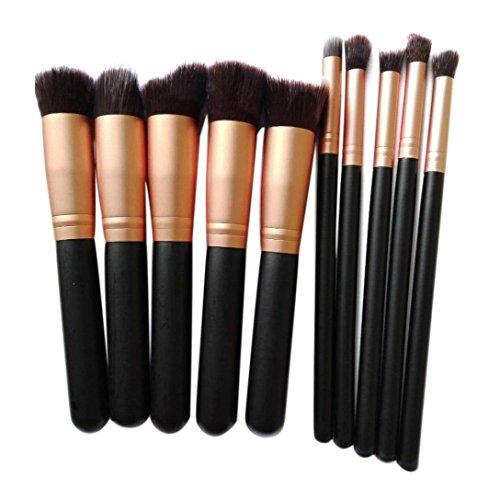 Saingace 10pcs Cosmétique de Maquillage Brosse Brosses Brosse Fard à Joues de Fard à Paupières Anticernes Ensemble/Or