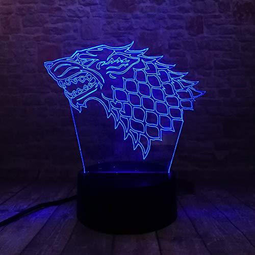wangZJ Lámpara de ilusión visual 3d / 7 luces de noche cambiantes de color/decoración del hogar/dormitorio/navidad/regalo para niños/fuego Stark Wolf
