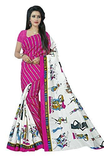 Jaanvi Fashion Bhagalpuri Silk Figure Printed Saree (Pink)