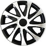 (Farbe & Größe wählbar) 14 Zoll Radkappen, Radzierblenden Draco Bicolor (Schwarz/Weiß) passend für fast alle Fahrzeugtypen (universal)
