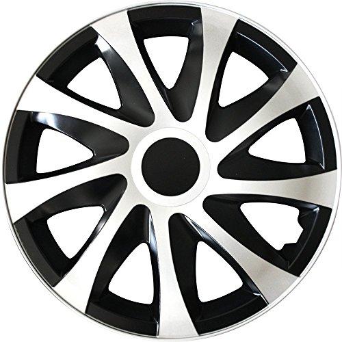 (Farbe & Größe wählbar) 15 Zoll Radkappen, Radzierblenden Draco Bicolor (Schwarz/Weiß) passend für fast alle Fahrzeugtypen (universal)