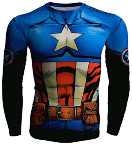 Men's Long sleeve Captain America Compression Sweatshirt DodgerBlue