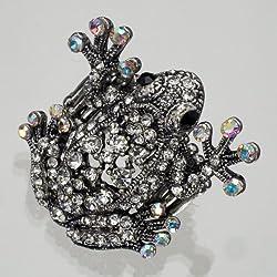 Girlie anillo con dulce rana, rana de plata, Estras