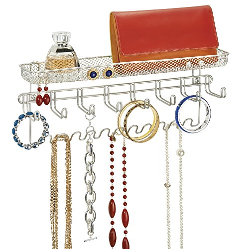 Mdesign espositore gioielli - porta gioielli da 19 ganci e organizzatore per bracciali, collane, anelli e orecchini - con portaoggetti in colore silver