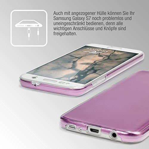 URCOVER® Metal-Optik Coque 360 Degrés | Apple iPhone 6 / 6s | Plastique Noir | Portable Étui Housse Tactile Protection Écran 3d Complète Double Cover Case Fuchsia