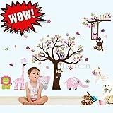 EMOTREE Kinderzimmer Wandtattoo Wandaufkleber Sticker Dekor Tiere Kinder Tierpark Baum Blume Wald XXL