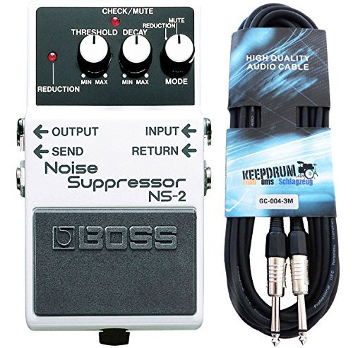 Boss NS de 2 Noise Suppressor Keepdrum de guitarra cable 3 m