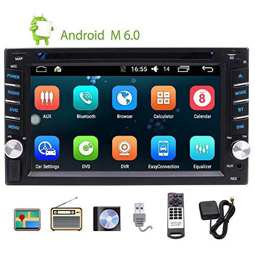 EINCAR Quad-Core-Android-Auto-Stereoradio Doppel-DIN-Autoradio Dash Head Unit DVD-Player, GPS-Navigation, WLAN, Fernbedienung, externes Mikrofon, Unterstützung Kamera, AUX, USB/SD, 6.2 Zoll TOU Wlan-dash-fernbedienung