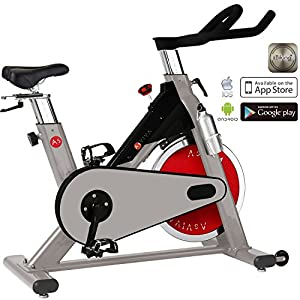 AsVIVA Indoor Cycle S8 Pro Speed-Bike mit Bluetooth App Kontrolle – Fitnessbike & Heimtrainer inkl. Klickpedale und Riemenantrieb, Speedbike pro silber