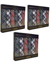 Value 3 Packs Of 6 Mens Boxed 100% Cotton Tartan Handkerchiefs