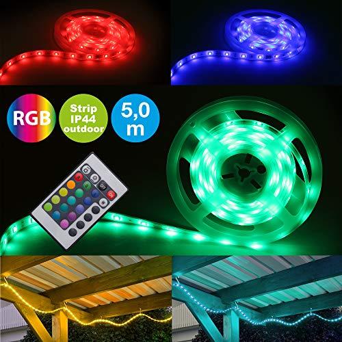 Briloner Leuchten - LED Band 5m, außen, dimmbar, RGB, IP44 spritzwassergeschützt, LED Streifen 150xRGB-LED/0,16W