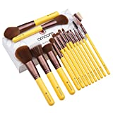 Make Up Pinsel, amoore 15pcs Pinselset Make Up Pinsel Sets Foundation Pinsel Make Up Buersten Gelb